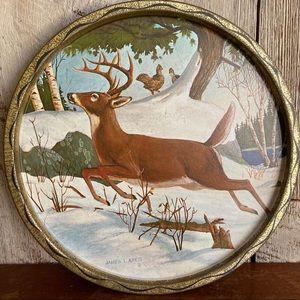Vintage Deer Pheasant Cabin Rustic  Serving Tray